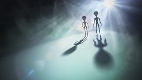 Силуэты чужеземцев и яркого света в предпосылке представленная иллюстрация 3d иллюстрация вектора