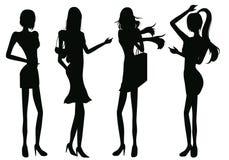силуэты девушок Стоковые Фотографии RF