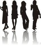 силуэты девушок Стоковая Фотография RF