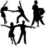 силуэты latino танцульки Стоковые Фотографии RF