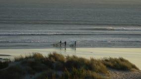 Силуэты windsurfers на заходе солнца Испания сток-видео