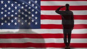 Силуэт американского солдата салютуя против национального флага, военных сил акции видеоматериалы
