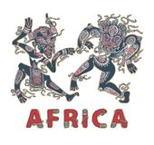 Силуэт африканцев Аборигены африканцев танцев в масках Декоративная надпись Африка стоковые фотографии rf