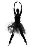 Силуэт балерины танцы танцора балета женщины Стоковые Изображения RF