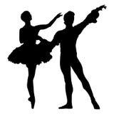 силуэт балета Стоковое Изображение