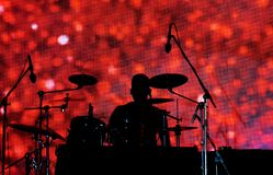 Силуэт барабанщика стоковые изображения rf