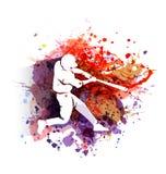 Силуэт бейсболиста на красочной предпосылке Стоковое фото RF