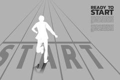 Силуэт бизнесмена бежать от линии начала бесплатная иллюстрация