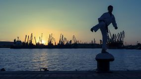Силуэт бойца Тхэквондо на заходе солнца над морем Стоковые Фото