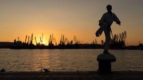 Силуэт бойца Тхэквондо на заходе солнца над морем Стоковая Фотография RF