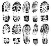 Силуэт ботинок следов ноги человеческий, комплект вектора, трассировки ботинка иллюстрация штока