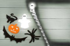 Силуэт бумаги хеллоуина различных характеров Стоковые Изображения