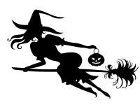 Силуэт ведьмы хеллоуина на венике иллюстрация вектора