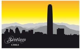 Силуэт вектора горизонта чилийской столицы Сантьяго стоковые фото