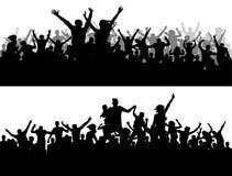 Силуэт вектора концерта толпы Вентиляторы чемпионата спорт Большой партии людей иллюстрация вектора
