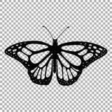 Силуэт вектора монарха бабочки Стоковое Изображение RF