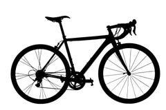 Силуэт велосипеда дороги на белой предпосылке Стоковая Фотография RF