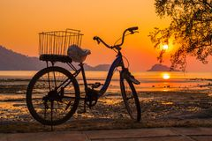Силуэт велосипеда на пляже Стоковые Фото