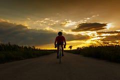 Силуэт велосипедиста на велосипеде дороги на заходе солнца Идет к камере Стоковые Фото