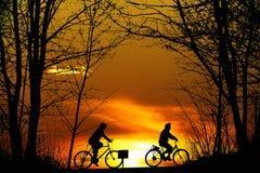 Силуэт велосипедиста на заходе солнца Стоковые Изображения RF