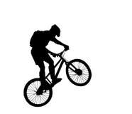 силуэт велосипедиста Стоковое фото RF
