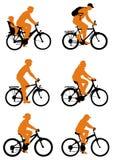силуэт велосипедов Стоковые Фотографии RF