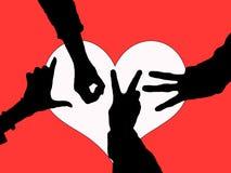 силуэт влюбленности рук Стоковая Фотография