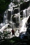 Силуэт водопада мальчика Стоковое Изображение