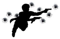 силуэт героя пушки дракой действия бесплатная иллюстрация