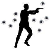 силуэт героя пушки дракой действия Стоковое Фото