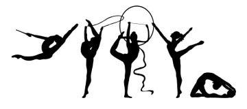 силуэт гимнастики группы звукомерный Стоковое Изображение RF