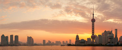 Силуэт горизонта утра Шанхай Стоковая Фотография