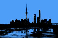 Силуэт горизонта Шанхая стоковое изображение