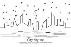 Силуэт города и звезды и луны в плоском стиле урбанское ландшафта самомоднейшее вектор изображения иллюстраций download готовый г иллюстрация вектора