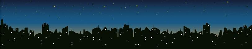 Силуэт городского пейзажа на ноче Стоковые Фото