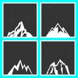 Силуэт горы для стикеров, значков, печатей, и ярлыков иллюстрация вектора
