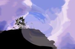 Силуэт горы неба фантазии Стоковая Фотография