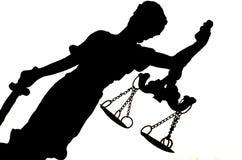 Силуэт дамы Правосудия Стоковые Изображения