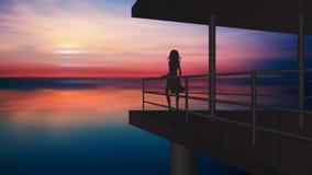 Силуэт девушки наслаждаясь заходом солнца от балкона над водой иллюстрация вектора