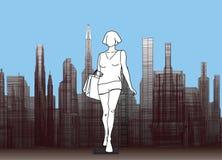 Силуэт девушки на предпосылке города бесплатная иллюстрация
