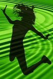 силуэт девушки скача предназначенный для подростков Стоковое Изображение
