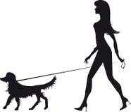 силуэт девушки собаки иллюстрация штока