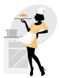 силуэт девушки хлебопека иллюстрация вектора