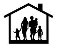 Силуэт дома многодетной семьи Стоковые Изображения