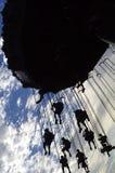 силуэт езды парка атракционов Стоковая Фотография RF
