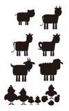 Силуэт животноводческой фермы Стоковое фото RF