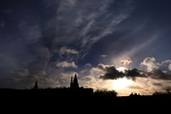 Силуэт замка Kronborg Стоковые Фотографии RF