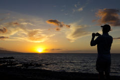 Силуэт захода солнца Стоковая Фотография RF