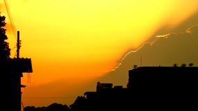 Силуэт здания в вечере Стоковая Фотография RF