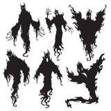 Силуэт злого духа Дьявол ночи хеллоуина темные, демон кошмара или силуэты призрака Метафизический вектор летая иллюстрация вектора